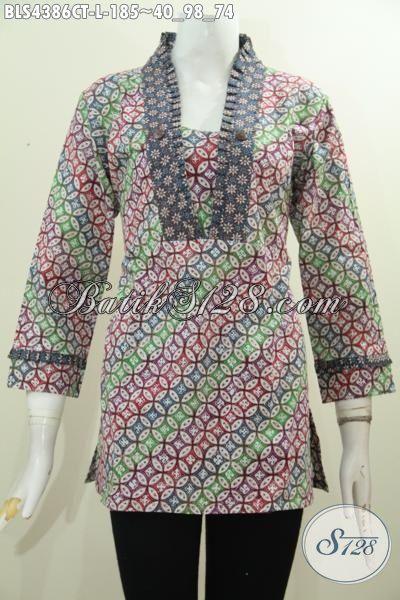 Baju Blus Batik Modern Untuk Wanita Muda Dan Dewasa Size L, Pakaian Batik Seragam Kerja Berkwalitas Halus Berpadu Warna Keren Buat Tampil Makin Gaya Proses Cap Tulis [BLS4386CT-L]