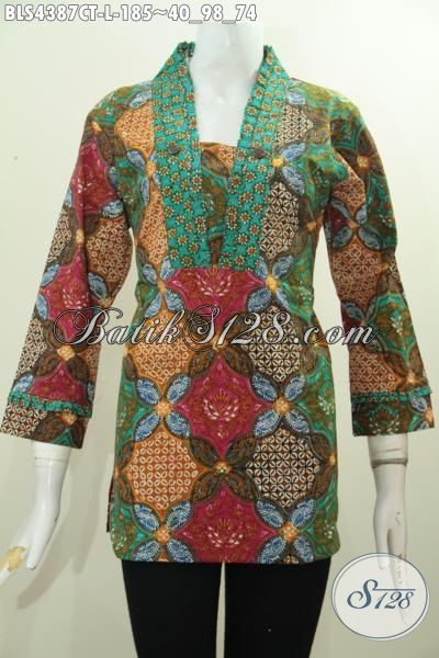 Batik Blus Trendy Proses Cap Tulis, Pakaian Batik Wanita Karir Model Resleting Belakang Bahan Adem Motif Keren Tampil Lebih Gaya, Size L