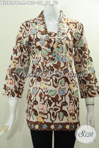 Toko Online Produk Batik Terlengkap, Sedia Baju Blus Modern Proses Cap Model Resleting Belakang Berbahan Adem Nyaman Di Pakai, Size M