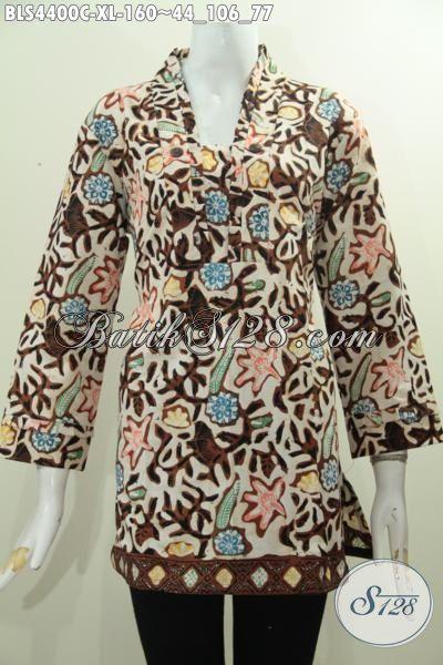Jual Batik Blus Pakaian Kerja Wanita Karir Dengan Desain Elegan Dan Pake Relseting Belakang, Busana Batik Solo Proses Cap Motif Bagus Harga 160K, Size XL