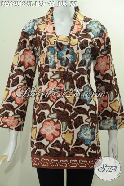 Sedia Pakaian Batik Wanita Dewasa Size XL, Baju Batik Modis Trend Terbaru Buat Kerja Dan Acara Formal Model Resleting Belakang
