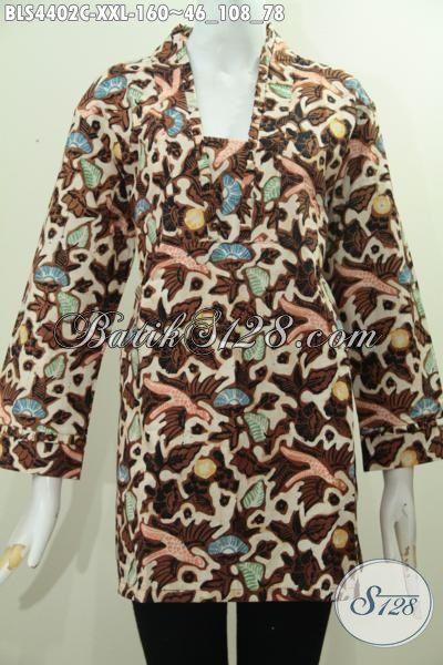 Jual Baju Batik Halus Motif Mewah Proses Cap Ukuran 3L, Busana Batik Jumbo Model Resleting Belakang Khusus Untuk Wanita Gemuk Tampil Gaya Mempesona, Size XXL