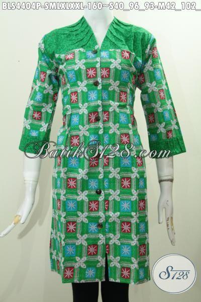 Baju Blus Bagus Harga Murah, Produk Pakaian Batik Terkini Dengan Bahan Perpaduan Kain Embos Dengan Desain Keren Warna Hijau Cocok Buat Wanita Muda, Size S – M – L – XL – XXL