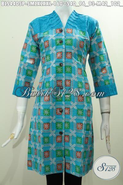 Batik Blus Biru Desain Mewah Kwalitas Halus Bahan Perpaduan Kain Katun Dan Embos, Busana Batik Printing Istimewa Buat Penampilan Lebih Modis Dan Gaya, Size S – M – L – XL