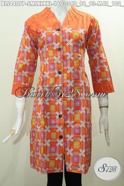 Batik Blus Modis Untuk Seragam Kerja Wanita Karir, Pakaian Blus Batik Trendy Proses Printing Bahan Kombinasi Emboss Untuk Tampil Lebih Keren, Size S – M – L – XXL