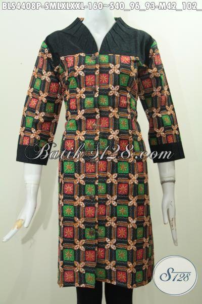 Batik Blus Modern Desain Terbaru Dengan Bahan Halus Serta Harga Yang Terjangkau, Baju Batik Wanita Kombinasi Embos Proses Printing Hanya 125K, Size M – XL – XXL