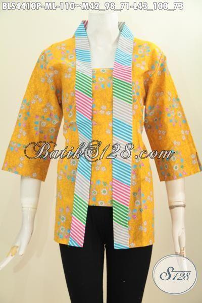 Jual Blus Batik Kutu Baru Trendy Warna Kuning, Busana Batik Desain Formal Motif Unik Printing Cocok Untuk Acara Resmi, Size M – L
