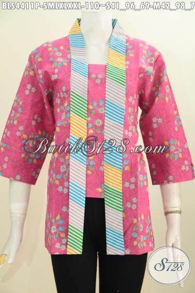 Jual Baju Blus Batik Kartini Warna Pink Cewek Banget, Busana Batik Elegan Modis Proses Printing Motif Bagus Bikin Penampilan Lebih Feminim, Size S – M – XL – XXL
