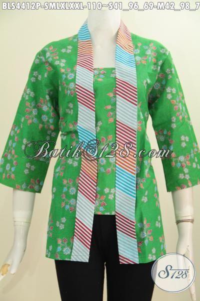 Jual Baju Batik Kutu Baru Kwalitas Bagus Proses Printing Warna Hijau Keren, Pakaian Batik Model Kartini Untuk Penampilan Lebih Mempesona, Size S – M- L – XL – XXL