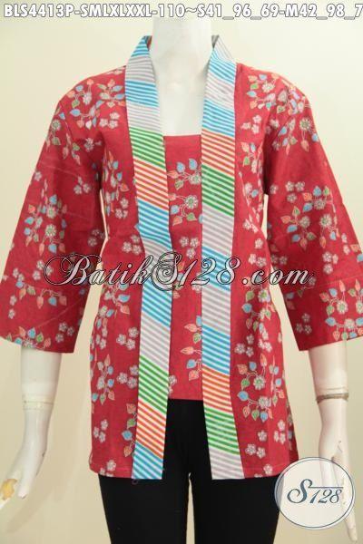 Batik Blus Modern Dengan Model Klasik, Busana Batik Wanita Karir Model Kartini Bahan Halus Motif Trendy Dengan Aksen Garis Warna Warni Harga 110K, Size Lengkap