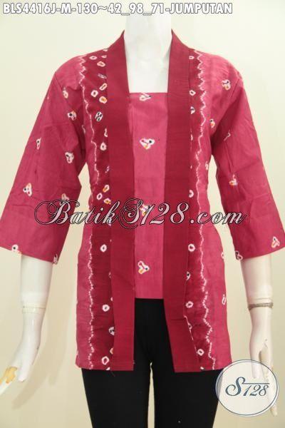 Pakaian Blus Batik Trendy Warna Merah Motif Jumputan, Baju Batik Kutubaru Trend Mode Busana Kerja Wanita Masa Kini, Size M