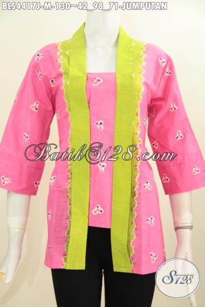 Baju Batik Blus Warna Pink Modis Model Kartini Bahan Adem Kwalitas Halus, Busana Batik Motif Jumputan Tampil Stylish Dan Mempesona, Size M