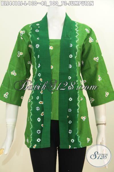 Pakaian Blus Hijau Modis Bahan Halus Proses Printing Motif Jumputan, Baju Batik Kutubaru Elegan Untuk Kerja Dan Acara Formal, Size L