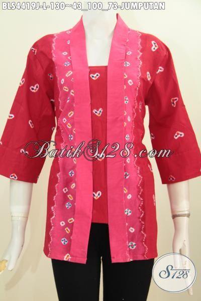 Jual Blus Batik Fashion Warna Merah Motif Jumputan Proses Printing, Pakaian batik Model Kartini Pas Buat Kerja Kantoran, Size L