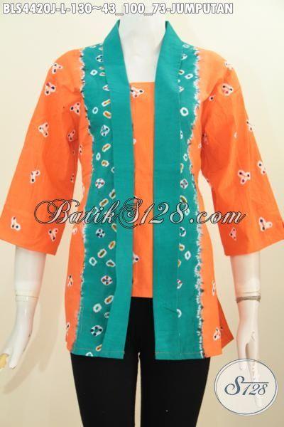 Baju Blus Kartini Warna Orange Motif Jumputan Aksen Hijau Motif, Baju Batik Perempuan Terkini Bisa Untuk Santai Dan Resmi, Size L