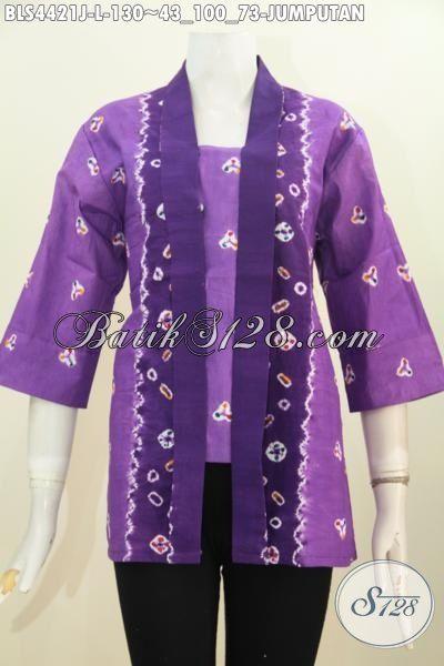 Baju Blus Kartini Bahan Batik Halus Motif Jumputan, Pakaian Batik Wanita Karir Proses Printing Warna Ungu Tampil Trendy Dan Gaya, Size L