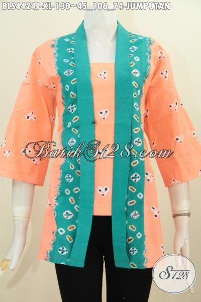 Baju Blus Orange Berpadu Aksen Hijau Keren Abis, Busana Batik Kartini Kwalitas Istimewa Untuk Kerja Dan Pesta, Size XL