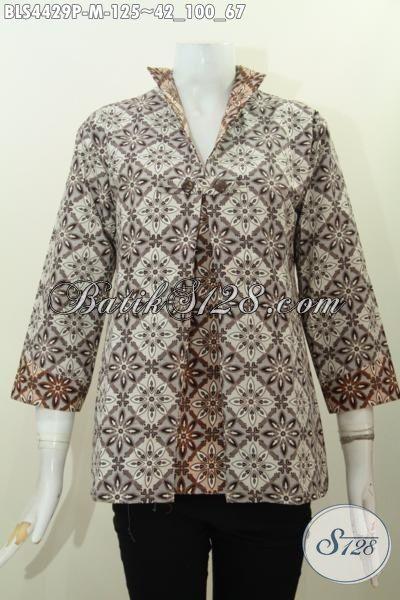 Pakaian Batik Wanita Muda Terbaru Dengan Model Jas Berpadu Kombinasi Dua Warna Elegan Proses Printing Modis Buat Seragam Kerja, Size M