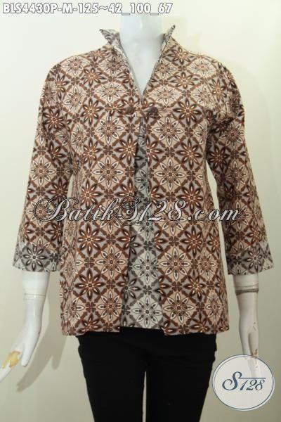 Jual Online Baju Blus Batik Dua Warna Dengan Desain Jas Cocok Untuk Acara Formal, Produk Busana Batik Halus Proses Printing Kwalitas Istimewa Hanya 125K [BLS4430P-M]