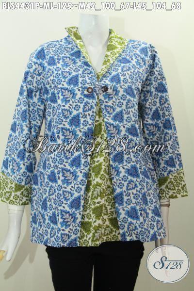 Baju Batik Istimewa Model Terbaru Kombinasi Dua Warna Berpadu Desain Jas Nan Elegan Proses Printing Hanya 15K, Size M – L