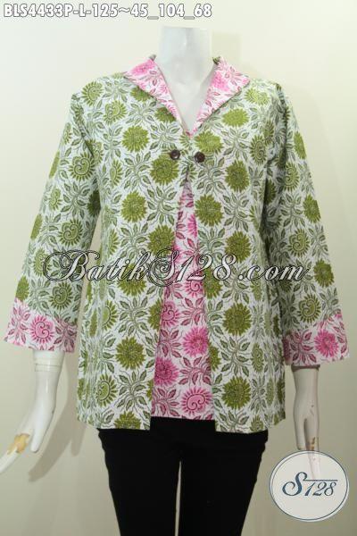 Baju Batik Dua Warna Motif Bunga Proses Printing, Blus Batik Elegan Model Jas Bahan Adem Untuk Penampilan Makin Berkharisma [BLS4433P-L]