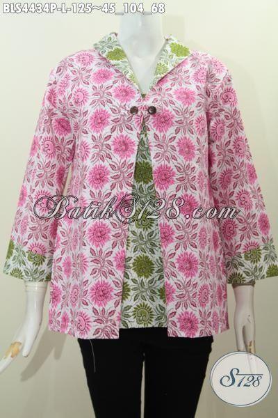 Jual Produk Baju Batik Istimewa Kombinasi Dua Warna Dengan Model Jas Motif Trendy Proses Printing, Baju Batik Halus Buatan Solo Untuk Seragam Kerja Dan Pesta, Size L