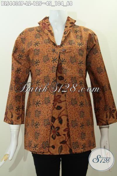 Baju Blus Batik Elegan Motif Klasik Model Jas, Baju Kerja Kombiasi Dua Warna Proses Printing Bikin Wanita Terlihat Mempesona Dan Anggun, Size L