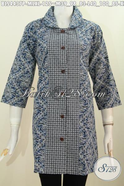 Blus Batik Wanita Modern Model Kerah Langsung, Busana Batik Trendy Motif Bagus Proses Printing Modis Untuk Seragam Kerja Dan Baju Hangout, Size M – L – XL