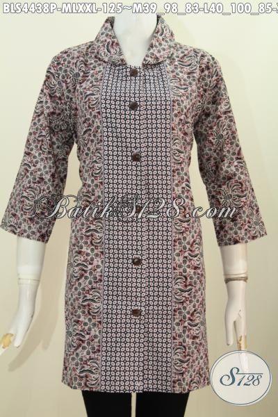 Sedia Baju Batik Blus Kerah Bulat, Busana Batik Trendy Kwalitas Istimewa Proses Printing Harga 100 Ribuan Modis Buat Kerja Dan Santai, Size M – L – XXL