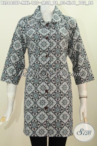Batik Blus Keren Untuk Seragam Kerja, Pakaian Batik Perempuan Masa Kini Berbahan Adem Proses Printing Model Kerah Bulat Istimewa, Size M – XL
