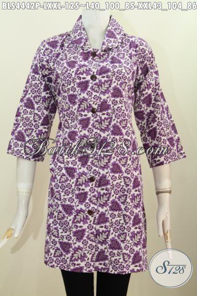 Batik Blus Ungu Motif Unik Proses Print, Pakaian Batik Wanita Desain Kerah Bulat Penunjang Penampilan Lebih Berkelas, Size L – XXL