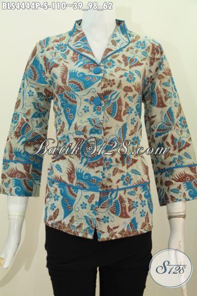 Blus Batik Printing Kerah Langsung, Hadir Dengan Desain Formal Bekelas Berpadu Motif Keren Yang Membuat Wanita Terlihat Cantik Bertubi-Tubi, Size S