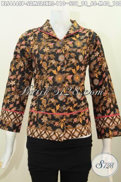 Toko Busana Batik Online, Sedia Blus Kerah Langsung Motif Bunga Proses Printing, Pakaian Batik Modern Bahan Halus Harga Terjangkau, Size S – M – L – XL