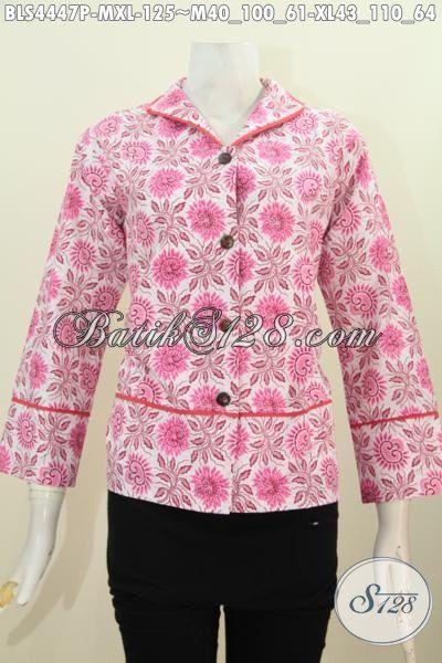 Di Jual Online Harga Grosir Blus Batik Pinky Motif Trendy Proses Printing, Baju Batik Wanita Terbaru Model Kerah Langsung Cocok Buat Pesta, Size M – XL