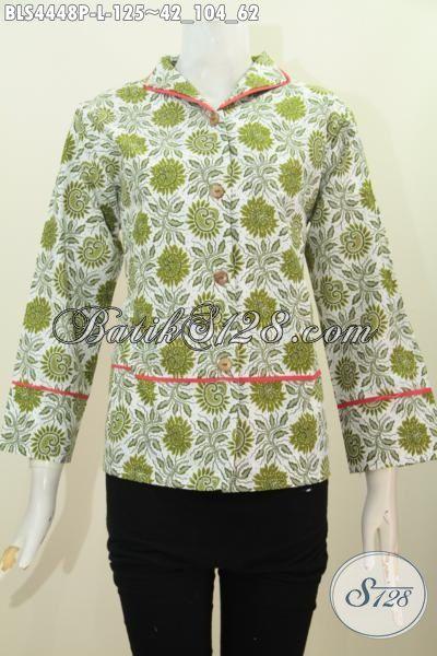 Pusat Baju Batik Jual Blus Kerah Langsung Motif Bunga Warna Hijau, Pakaian Batik Modis Dan Istimewa Proses Printing Harga 100 Ribuan, Size L