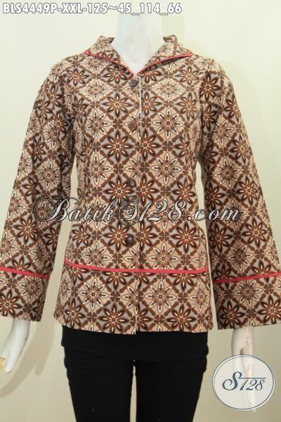 Toko Pakaian Batik Online Jual Blus Batik Fashion Ukuran Jumbo 3L Buat Perempuan Gemuk, Baju Batik kerah Langsung Motif Dan Warna Elegan Bikin Penampilan Makin Menawan [BLS4449P-XXL]