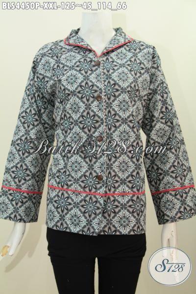 Blus Batik Jumbo Trendy Model Kerah Langsung Kwalitas Bagus Harga Murmer, Produk Baju Batik Terkini Yang Membuat Wanita Gemuk Lebih Modis Dan Anggun, Size XXL