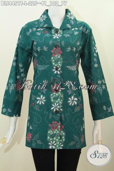 Jual Baju Batik Kerah Kotam Motif Trend Masa Kini Proses Tulis, Blus Batik Formal Warna Hijau Cocok Untuk Baju Kerja Tampil Lebih Elegan, Size L