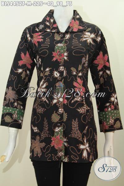 Produk Baju Batik Modis Daar Hitam Motif Bunga Tulis Tangan, Pakaian Batik Elegan Model Kerah Kotak Cocok Untuk Acara Formal Tampil Leih Berkharisma, Size M