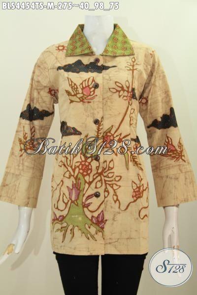 Blus Batik Halus Kwalitas Premium Motif Keren Proses Tulis Soga, Pakaian Kerja Batik Wanita Karir Model Kerah Kotak Buat Tampil Lebih Berkelas, Size M