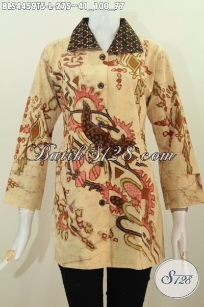 Baju Blus Batik Keren Motif Terkini Proses Tulis Soga, Busana Batik Wanita Kwalitas Istimewa Model Kerah Kotak Cocok Buat Seragam Kerja, Size L