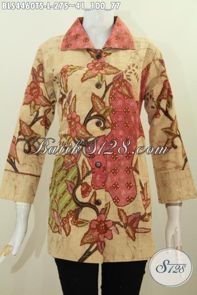 Busana Batik Elegan Kwalitas Premium Bahan Adem Proses Tulis Soga, Pakaian Batik Modern Model Kerah Kota Cocok Banget Buat Acara Resmi, Size L