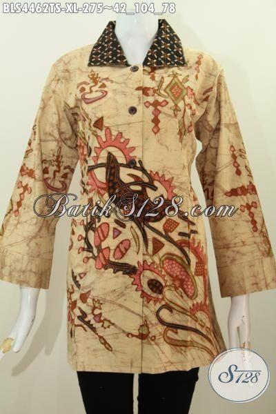 Baju Batik Wanita Dewasa Desain Mewah Berpadu Kerah Kotak Nan Elegan, Baju Batik Istimewa Proses Tulis Soga Cocok Buat Acara Formal [BLS4462TS-XL]