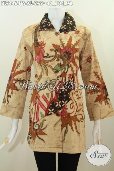 Jual Online Batik Blus Modern Untuk Perempuan Dewasa, Pakaian Batik Elegan Model Kerah Kotak Bahan Halus Proses Tulis Soga Kwalitas Premium, Size XL