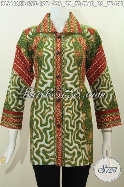 Jual Produk Baju Blus Kerah Kotak Motif Klasik Proses Print, Busana Batik Elegan Buatan Solo Bikin Wanita Tampil Berkelas, Size S – L