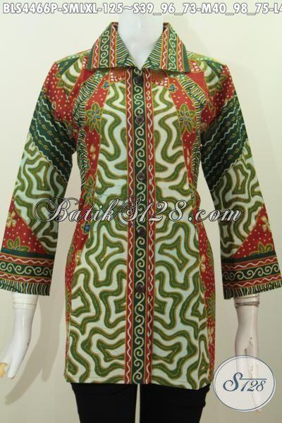 Jual Online Batik Blus Istimewa Harga Biasa, Produk Pakaian Batik Halus Proses Printing model Kerah Kotam Cocok Untuk Kerja Dan Kondangan, Size S – M – L – XL