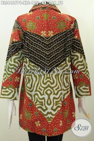 Agen Baju Batik Online Paling Up To Date, Sedia Blus Batik Klasik Proses Print Model Kerah Kotak Kwalitas Halus Harga 100 Ribuan, Size XL