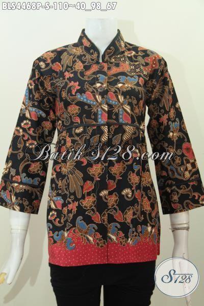 Jual Busana Batik Wanita Model Terbaru Kerah Shanghai Plisir Polos, Baju Batik Printing Motif Keren Di Jual Online Harga Grosir, Size S