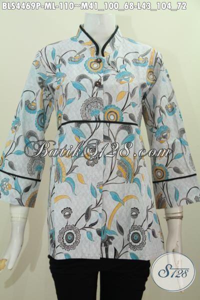 Sedia Busana Batik Jawa Motif Trendy Proses Printing Kwalitas Istimewa, Pakaian Batik Modis Model Kerah Shanghai Untuk Seragam Kerja Modis Banget, Size M – L