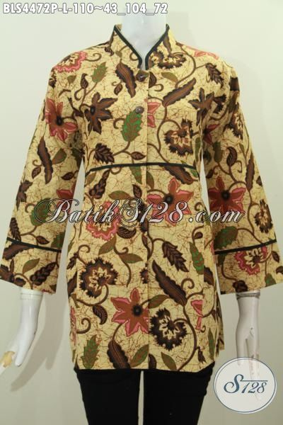 Pusat Baju Batik Online Paling Lengkap, Jual Blus Kerah Shanghai Plisir Polos Size L, Baju Batik Wanita Dewasa Motif Trendy Proses Printing Cocok Buat Ke Kantor